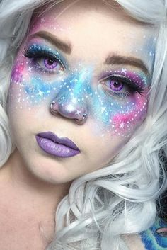 21 Galaxy Makeup Looks - Creative Makeup Ideas for Extraordinary Girls - Make Up Forever Fx Makeup, Cosplay Makeup, Makeup Tips, Hair Makeup, Makeup Ideas, Makeup Brushes, Makeup Hairstyle, Prom Makeup, Makeup Geek