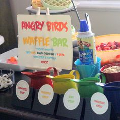 Brilliant Idea:build your own angry bird waffle bar- fruit syrup recipes