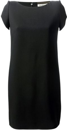 $507, Black Silk Shift Dress: Saint Laurent Classic Shift Dress. Sold by farfetch.com. Click for more info: http://lookastic.com/women/shop_items/113610/redirect