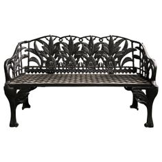 Pair of Black Cast Iron Benches  | From a unique collection of antique and modern garden furniture at http://www.1stdibs.com/furniture/building-garden/garden-furniture/