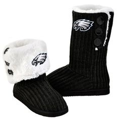 Philadelphia Eagles Women's Knit High-End Button Boot Slippers
