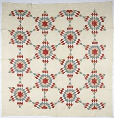 """Blazing Stars quilt. American, mid-19th century, twelve six-point stars and four partial stars in colors of red, white, and blue on a natural ground, inscribed in ink on two rear corners with """"M.E.Green 1850"""", 106"""" x 109""""."""