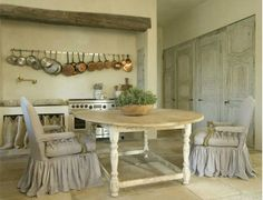 Love the aged wooden beam and pots hanging at the back. I do not feel soft furnishings work in a kitchen (curtained cupboard to side)   Pinned by JCC 07.08.13. Please don't use repining Bots as they Bloat the system. Care about what you pin. Pin it yourself