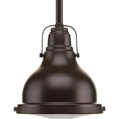 One Light Clear Fresnel Glass Oil Rubbed Bronze Down Mini Pendant : 1NGRY | Bright Light Design Center