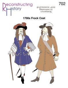 1680s-1700s Men's Frock Coat | Frock Coat Pattern | Dog-Ear Cuffs