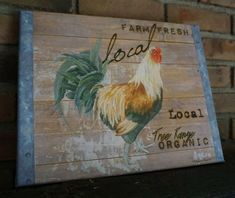 Rustic Country Primitive Rooster Farm House Wood Framed Canvas Sign Home Decor #OhioWholesale #Country