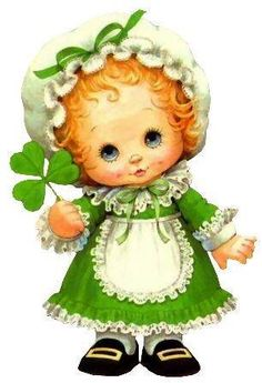 For this reason, shamrocks are a central symbol for St Patrick's Day. St Patricks Day Cards, Happy St Patricks Day, Sarah Kay, Vintage Greeting Cards, Vintage Postcards, Image Deco, Cute Clipart, St Paddys Day, Holly Hobbie
