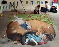 Chalk Art of Jennifer Nichols Chaparro, in Dun Laoghaire, Ireland. www.Amazin… Chalk Art of Jennifer Nichols Chaparro, in Dun Laoghaire, Ireland. www. 3d Street Art, Street Artists, 3d Sidewalk Art, Chalk Drawings, 3d Drawings, Pavement Art, 3d Chalk Art, Street Painting, Dark Fantasy Art