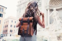 Women's Rucksack Leather Backpack Rustic Bag by BennyBeeLeather Handbags On Sale, Luxury Handbags, Purses And Handbags, School Purse, Unique Backpacks, Rucksack Backpack, Messenger Bag, Cute Purses, Shoulder Bag