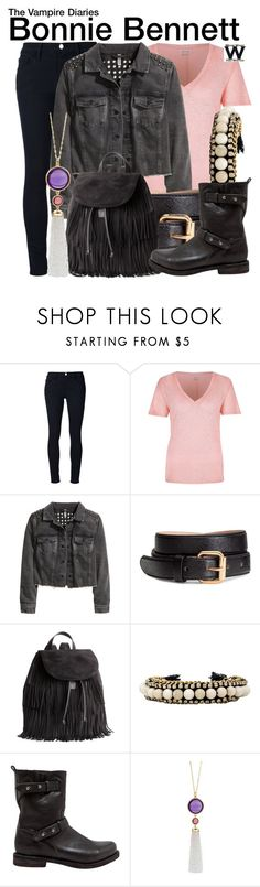 """The Vampire Diaries"" by wearwhatyouwatch ❤ liked on Polyvore featuring Frame Denim, River Island, H&M, Ettika, rag & bone, Goshwara, television and wearwhatyouwatch"