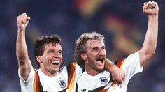 Germany's Lothar Matthaus and Rudi Voeller celebrate their 1-0 victory over Argentina in the 1990 World Cup final.