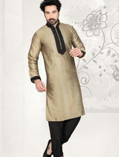 Pleasance Beige Art Dupion Silk Wedding Wear Kurta Pajama