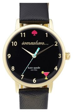 kate spade new york 'metro - somewhere' leather strap watch, 34mm | No