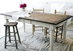 Love this farm table style .... Make one just a bit smaller for kitchen island