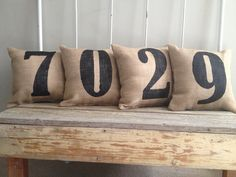 Burlap Pillow House Numbers Pillow by TwoPeachesDesign on Etsy, $90.00 - So cute on the front porch! As seen in HGTV Magazine!