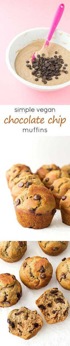 SImple Vegan Chocolate Chip Muffins #vegan