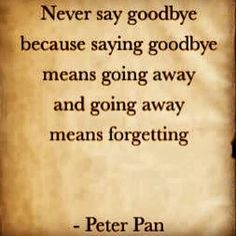 never say goodbye -Peter Pan Love Me Quotes, Great Quotes, Quotes To Live By, Funny Quotes, Inspirational Quotes, Qoutes, Peter Pan Quotes, Goodbye Quotes, Never Say Goodbye