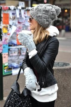 Cozy winter casual. I need these cable knit mittens! The leather jacket with hoodie and aviators - so me.