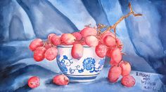 LIVE! Teacup With Grapes in Watercolor 12:30pm ET There will be a printable pattern available on my blog: https://thefrugalcrafter.wordpress.com/2016/09/23/l...