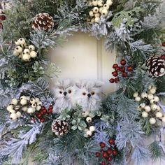 Winter Wreath-Snowy Owl Wreath-Christmas by ReginasGarden on Etsy