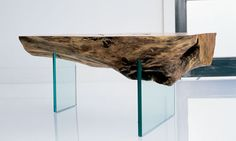 view wood furniture made by john houshmand Furniture Dining Table, Glass Furniture, Unique Furniture, Wooden Furniture, Furniture Design, Console Table, Slab Table, Wood Table, Coffe Table