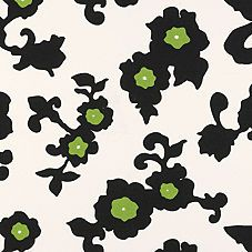 Black & Green Gardenia Fabric