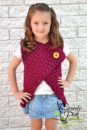 Madison Vest crochet pattern by Sincerely Pam Child sizes 2-16. Super easy pattern can be done in only a couple hours! Great pattern for those just starting crochet garments, or anyone who needs a quick gift to work up.