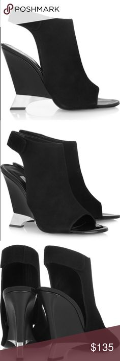 DVF Elsa Black Suede Cut Out Ankle Wedge Bootie 10 Diane von Furstenberg Elsa suede cutout open-toe ankle wedge boots. Size 10. Retail price $429. The perfect partner to a bold cocktail dress. Give your footwear collection a sculptural spin with Diane von Furstenberg's graphic black suede cutout ankle boots. Perfect condition and never worn. No trades please 💕  Cutout back, open almond toe Velcro-fastening ankle strap Black super soft suede leather and silver metal sculpted  wedge heel…