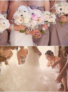 Bridal party and bride