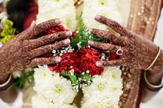 This Indian bride has beautiful mehndi for her wedding.