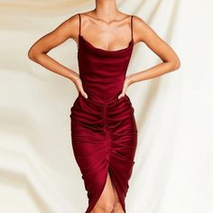 """""""Get the After Five look that everyone will envy you for having when you wear these incredible satin bodycon dresses."""" #satinbodycondresses #ruchedsatinmididress Sexy Long Dress, Long Summer Dresses, Party Dresses For Women, Cheap Dresses, Long Dresses, Satin Bodycon Dress, Pleated Midi Dress, Satin Dresses, Silk Dress"""