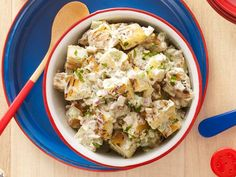 This easy Smokin' Potato Salad is one of Guy's favorites. Give the dish a smoky finish by grilling the potatoes for 10 minutes on each side.
