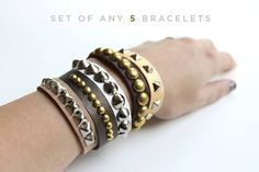 Yes!! Set of 5 Studded Leather Bracelets