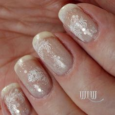 """Lola's """"Snow Angel"""" Mani:  Essie """"Marshmallow"""" French tips; OPI """"Don't Touch My Tutu""""; OPI """"Pirouette My Whistle""""; Stamped with OPI """"Alpine Snow"""";  MoYou-London Kitty Collection 04 Image Plate"""
