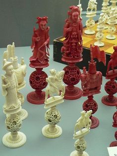 Stained and white ivory Puzzle-Ball Chess Set China 19th century CE