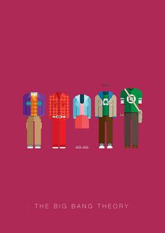 Brazilian Artist, Fred Birchal, presents snippets from his series featuring iconic costumes. The Big Theory, Big Bang Theory Funny, Tbbt, The Big Bang Therory, Inheritance Cycle, Himym, Movie Costumes, Minimalist Art, Bigbang