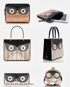 {From the top: Kate Spade wise owl iPad sleeve, Kate Spade wise owl quinn, Kate Spade wise owl clutch, Kate Spade owl coin purse. Al...