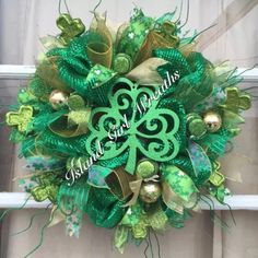 A personal favorite from my Etsy shop https://www.etsy.com/listing/221873563/st-patricks-day-deco-mesh-wreath