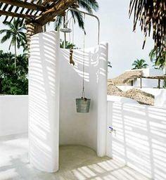 lizard project outdoor shower bucket shower head - outside showers - reminiscent of greece architecture Outdoor Baths, Outdoor Bathrooms, Outdoor Rooms, Outdoor Gardens, Outdoor Living, Outdoor Life, Outside Showers, Outdoor Showers, My Dream Home