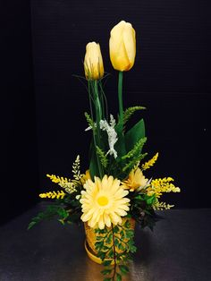 Yellow tulips custom floral by Andrea for Michaels Round Rock