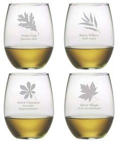 Beautifully etched, each stemless glass has a different leaf along with its name.
