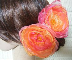 2 handmade flowers, tangerine tango and hot pink  #tangerine #fuschia #weddings
