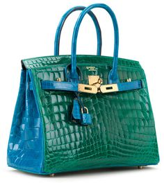 """""""A 30cm Horseshoe Stamp Special Order Shiny Vert Emeraude and Bleu Izmir Nilo Crocodile Birkin Bag. Hermès, 2014"""" """"The Horseshoe Stamp Birkin is the Holy Grail for Hermès collectors . . . . This stamp bestows the high distinction of being a one-of-a-kind, special order creation, tailored specifically to the individual taste and style of its owner."""" Text/photo via Christie's. """"The Holy Grail for Hermès Collectors"""" by Rachel Koffsky. Christie's (May 11, 2015). Get Lucky 