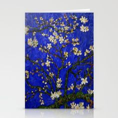 Van gogh Digital Abstract Daisy blue background Stationery Cards #StationeryCards #Stationery #Cards #abstract #vangogh #paintings #starrynight #starry #night #abstractpainting #pattern #popart