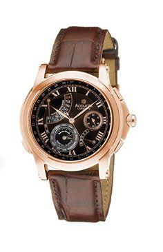 Accurist GMT326 - Reloj analógico de cuarzo para hombre con correa de piel, color marrón-PREFERIDO-