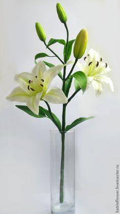 Ветка Лилии из полимерной глины, $139