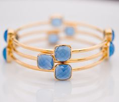 Bangle  Blue Chalcedony Bracelet  Gemstone Bangles  by delezhen, $149.00
