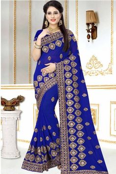 15a656ad261 Navy blue Georgette Saree With Georgette Blouse -. Andaaz Fashion Malaysia