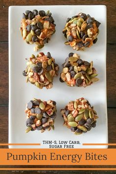 Perfect little balls of pumpkin spice covered with nuts, seeds, and chocolate chips. The perfect blend of sweet and salty.  Pumpkin Energy Bites {THM-S, Low Carb, Sugar Free}