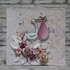 Items similar to Romantic new baby card with stork and pink flowers - baby girl on Etsy Shipping Envelopes, New Baby Cards, Card Making Techniques, Stork, I Card, Pink Flowers, New Baby Products, Romantic, Handmade